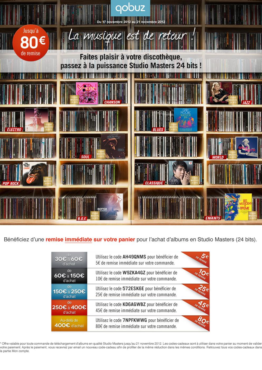 Du 17 au 21 novembre 2012 - Faites plaisir à votre discothèque, passez à la puissance Studio Masters 24 bits ! Jusqu'à 80€ de remise